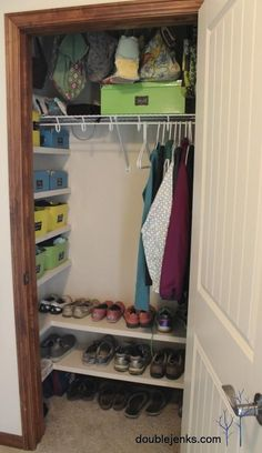 Coat Closet Organization. I love the shelves on the side and bottom! Definitely need to do this and use hooks instead of hangers.