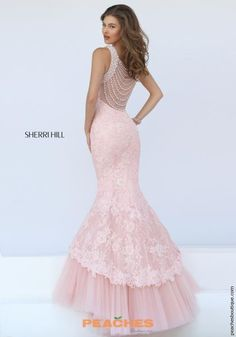 Sherri Hill Lace Mermaid Pink Dress 50112