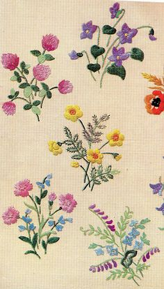 "Vintage embroidery 1950 | ""Wild flowers"", beautifully embroi… 