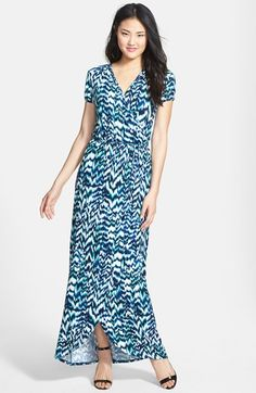 LOVEAPPELLA Cap Sleeve Faux Wrap Jersey Maxi Dress (Regular & Petite) available at #Nordstrom