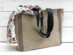 Eco friendly French tote  bag  with Black Leather strap / Market tote with LINEN black Gingham via Etsy.