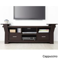 Skyler Contemporary 64-inch Wide Black/White Brown Cappuccino Two Drawers Entertainment TV Console