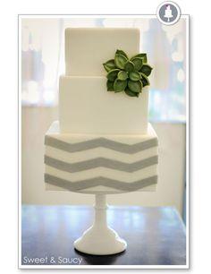 Chevron & succulent cake