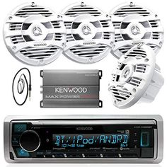 New Kenwood Marine Boat Yacht Bluetooth Digital USB AUX iPod iPhone AM/FM Radio Stereo Player With 4 X Inch Kenwood Marine Audio Speakers Kenwood Compact Marine Amplifier And Enrock Marine Antenna - Complete Marine Outdoor Aud Car Stereo Speakers, Car Audio, Boat Radio, Cool Car Accessories, Marine Boat, 4 Channel, Audio System, Ipod
