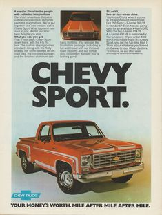 1975 Chevy truck ad, Masculine Type, Masculine vehicle