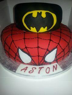 2 TIER Batman & Spiderman Cake