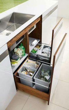 Kitchen: Space-saving waste separation: from Team 7 - Image 2 Kitchen Room Design, Kitchen Cabinet Design, Modern Kitchen Design, Home Decor Kitchen, Interior Design Kitchen, Kitchen Furniture, Kitchen Storage, Home Kitchens, Small Kitchen Sink