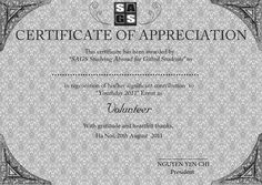"Certificate of Appreciation for volunteers at the event ""Youthday"" at my school"