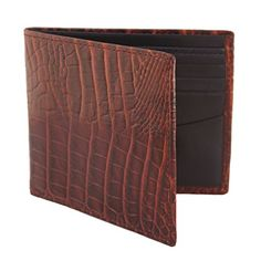41b3e8543 Estados Mens Leather Billfold Wallet - Chocolate Brown Croc Dark Navy Blue  at Amazon Men s Clothing store