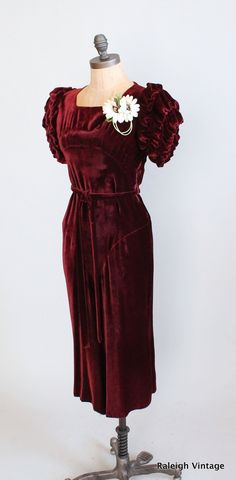 1930s merlot velvet party dress.  https://www.etsy.com/listing/115208916/vintage-1930s-dress-30s-merlot-velvet
