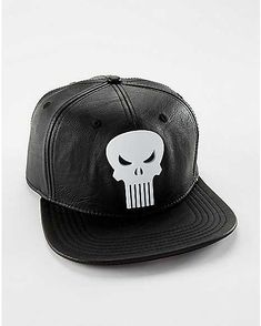 32cff02f10824 Faux Leather Punisher Snapback Hat - Marvel Comics - Spencer s