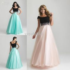 2013 Pink Black Cap Short Sleeves A-line Tulle Beaded Prom Dress Evening Party Formal Dresses Gown
