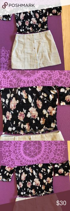 Black floral blouse, velvet Purchased from Merrilee's in Huntington Beach this summer 2017 Black velvet with pink floral pattern Off the shoulder sleeves connected  Sinched, stretchy and tight material. Soft velvet. Beautiful top only worn once Skirt is also for sale Tres Bien Tops Blouses