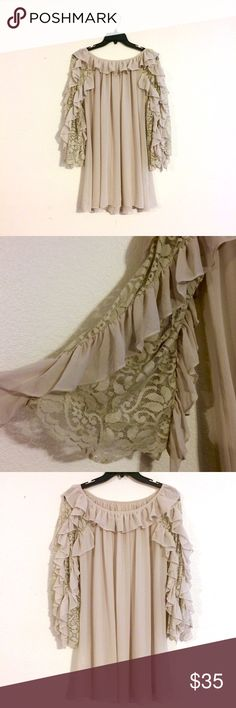 Ciel Boho Taupe Blouse Amazing ruffled and Lace sleeves. Runs a bit big - can fit a large. Ciel Tops