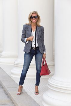 This week on the blog our Florence Jacquard jacket styled with our Tuxedo blouse and skinny jeans  - Jacket and blouse are available in our shop www.jacketsociety.com
