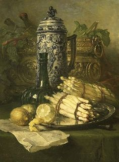 Maria Vos, Still Life with Stoneware Jug, 1878 +++++++++++++++++++++ https://es.pinterest.com/carrerrec/food-cooking-feasting-fasting/