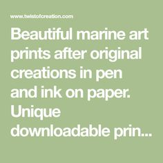 Beautiful marine art prints after original creations in pen and ink on paper. Unique downloadable prints with sailing boat. Viking ship, Pirate ship