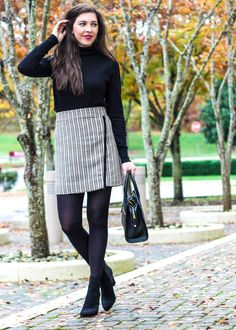 cute work outfit | skirt with tights and turtleneck sweater | black suede booties on sale | @shelbslv @jcrew @verabradley