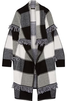 Burberry | Fringed checked wool and cashmere-blend cardigan | NET-A-PORTER.COM