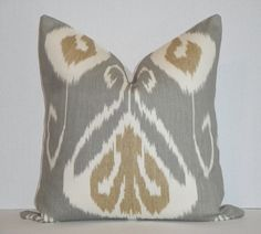 Decorative Pillow Cover / 18 x 18 / Slate / Grey / Tan / IKAT / Kravet $39