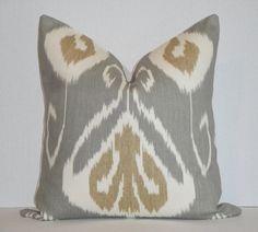 Decorative Pillow Cover / 18 x 18 / Slate / Grey / Tan / IKAT / Kravet $39
