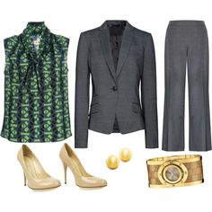 Here is a great option for a Career Fair, office attire, or presentation attire. Closed toe pumps, matching jacket and trousers and simple accessories complete this professional look!