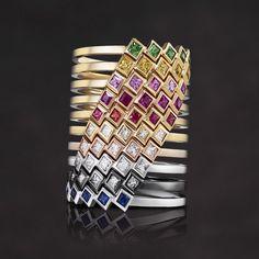 Melissa Kaye Jewelry Margo rings in 18k gold with diamonds, yellow gold, white gold, pink gold, black gold, sapphire & ruby tsavorite. #DesignerJewelry