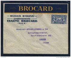 VENTE FLASH Lot B_060 - 1928 - N°245 1fr50 LÉGION AMÉRICAINE SUR LSC (en-tête BROCARD HUILES D'OLIVE) DE NICE À ZURICH