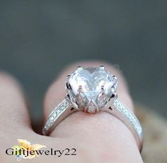 Beautiful Solid 14K White Gold Over Round Cut  Diamond Wedding Engagement Ring #giftjewelry22 #SolitaireWithAccents