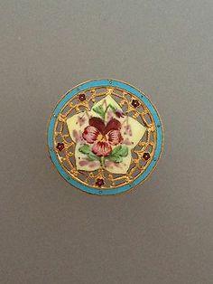 Antique Pierced French Enamel Button w/ a Star Center Design w/ a Pansy Flower