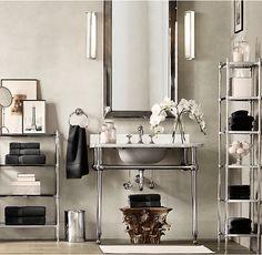 Gramercy Single Metal Washstand With Backsplash Bathroom Fixtures Cabinets Bathrooms Guest Bath