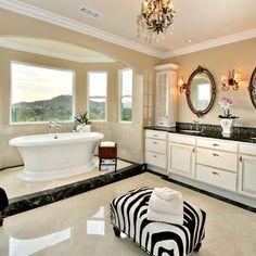Bathroom Bathroom Black Granite his and her vanity mirrors