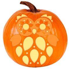 Cute Owl Pumpkin Stencil