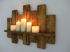 Reclaimed pallet wood floating shelf / led candle holder shabby chic / country cottage furniture - c_rby - Dekoration Shabby Chic Shelves, Rustic Wall Shelves, Wooden Floating Shelves, Pallet Shelves, Floating Candles, Led Candles, Shabby Chic Rustique, Rustic Shabby Chic, Recycled Pallets