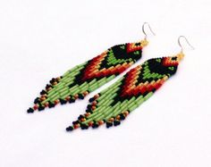Yellow Orange Red Brown Black earrings. Native by LiLaJewelry4You
