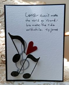 Latest and Modern Music Themed Handmade Cards - Wedding Cards Handmade, Greeting Cards Handmade, Love Cards, Diy Cards, Musical Cards, Valentine Day Cards, Homemade Cards, Cardmaking, Birthday Cards