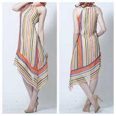 Bacci Striped Dress w/ Asymmetrical Hem Gorgeous colors perfect for spring or summer!  Fully lined. Purchased at a boutique in LA, here's some info on the brand: Bacci, Inc. is one of the leading luxury brands for tops, dresses, knitwear and more. Currently a wholesale manufacturer of elegant women's clothing designed in Los Angeles, CA. Bacci reaches out all over the world to different boutiques, department stores and various retail stores and focuses on elegant styles. I'm too short, it…