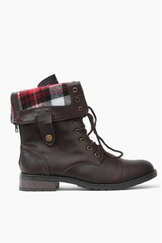 Combat Style Short Boots in two ways. Either lace up or folded over showing the plaid printed fleece lining.  Has matching zipper on back. Pair it with jeans a motorcycle leather jacket.