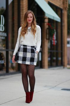 Zara leather jacket, leopard print scarf and Primark black Checked Skirt Outfit, White Skirt Outfits, Winter Skirt Outfit, Orlando Florida, Pantyhose Outfits, Tights Outfit, Primark, Check Mini Skirt, Fashion Clothes