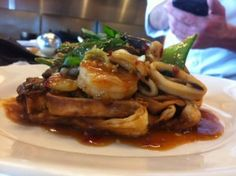 Hong Kong Style Noodle Cake with Seafood Sauce.