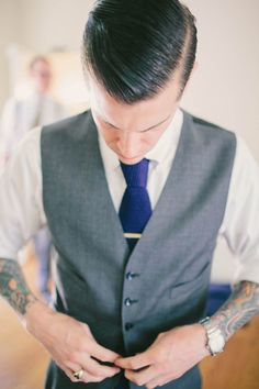 Groom. Love the gray suit. Pin Wheels, Paper Flags, Tattoos & Love: Christina & Paul