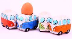 Camper Bus Eierbecher - aus Keramik, bunt sortiert, im 4er Set VW Bulli T1