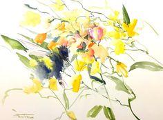 Bumblebee et douces roses pêche fleurs jaune 16 x par ORIGINALONLY