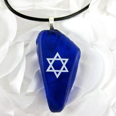 Star of David Pendant  Recycled Cobalt Blue Glass by dpholkdesigns, $24.00