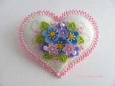 Beaded Felt Heart Pin by Beedeebabee on Etsy