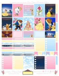 Planner Onelove: Free Beauty & the Beast printable spread for the Erin condren & Recollections Planner To Do Planner, Disney Planner, Free Planner, Erin Condren Life Planner, Planner Pages, Happy Planner, 2015 Planner, Student Planner, Blog Planner