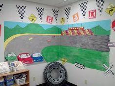 Mural painted to fit a Race Car themed classroom. This is basic bulletin board paper & acrylic paint. Daycare Crafts, Classroom Design, Preschool Classroom, Classroom Themes, Classroom Activities, Race Car Themes, Race Cars, Computer Lab Organization, Bulletin Board Paper