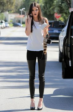 Leather pants, cream top, ankle criss cross boots or wedge pumps