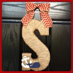 Twine Monogram with Whale and Anchor and Chevron Bow- Nautical Wreath- Nautical Monogram- Front Door Monogram- 13.5''' on Etsy, $25.00