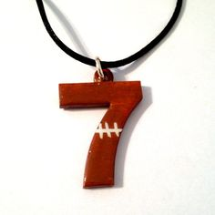 Painted Football Number Necklace Sports by SherrollsDesigns